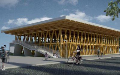Am Eberswalder Bahnhof entsteht ein hölzernes Fahrradparkhaus